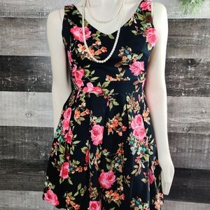 IXIA floral stretchy fit flare party dress